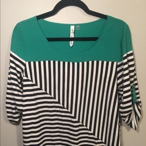 NY Collection Striped 3/4 Sleeves Top - Size Large